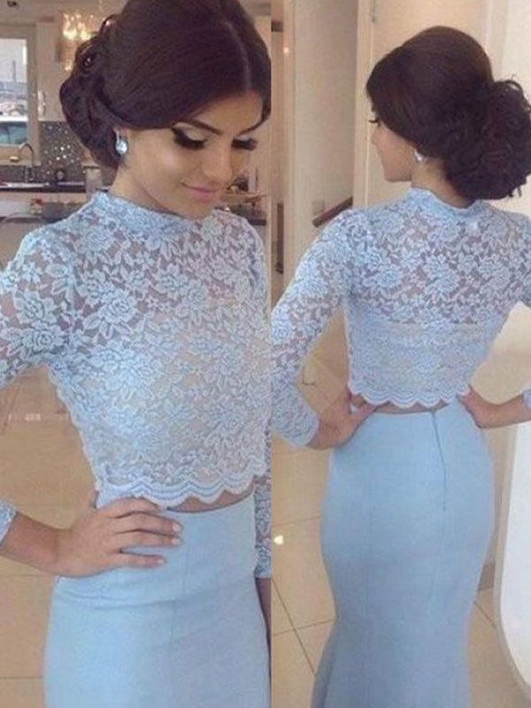 Long Sleeve Two Pieces Blue High Neck Evening Party Prom Dress,PD0074