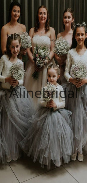 Lovely Tulle Cute Gray Long Sleeves Flower Girl Dresses FGS146
