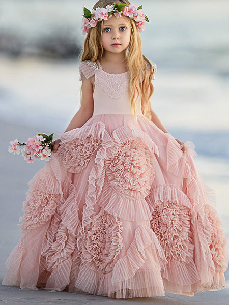 73c121509 Lovely Soft Pink Flower Girl Dresses For Beach Wedding, Unique Little Girl  Dresses, FG069