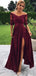 Maroon Off Shoulder Half Sleeve Lace Long Prom Dresses.PD00284