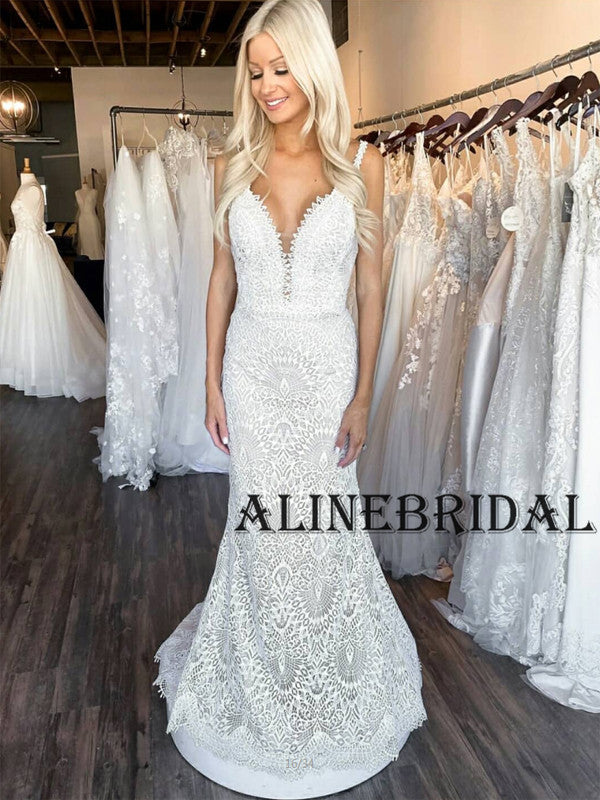 Mermaid Lace Elegant Long Vintage Wedding Dresses WD1205