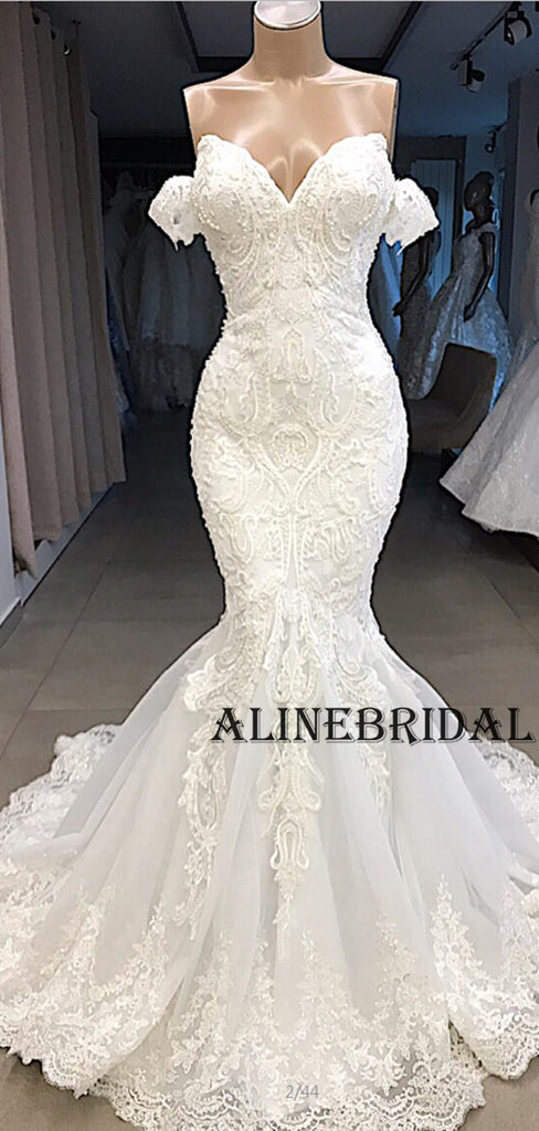 Mermaid Lace Off the Shoulder Ivory Beach Wedding Dresses WD1206