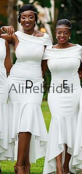 Mermaid Mismatched Off White Satin Formal Bridesmaid Dresses AB4243