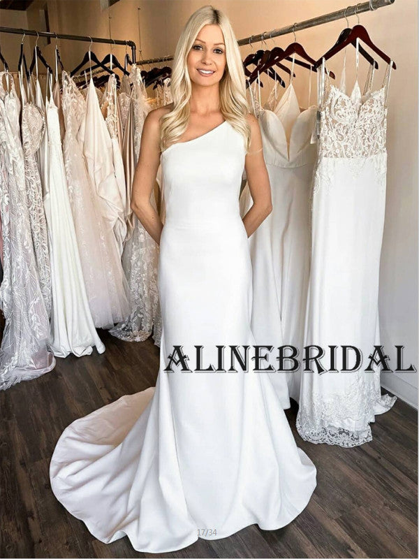 Mermaid One Shoulder Satin Simple Wedding Dresses WD1208