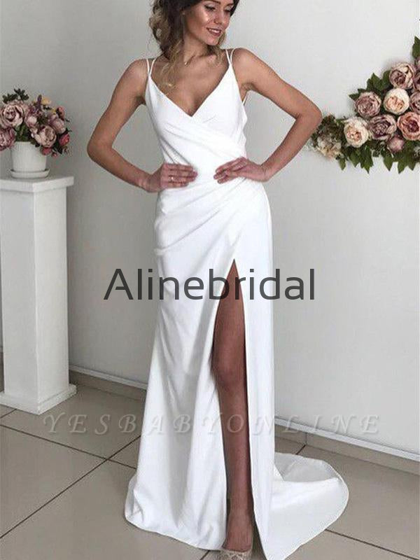 Mermaid Simple Chic Sexy Backless Spaghetti-Straps Prom Dresses PD1007