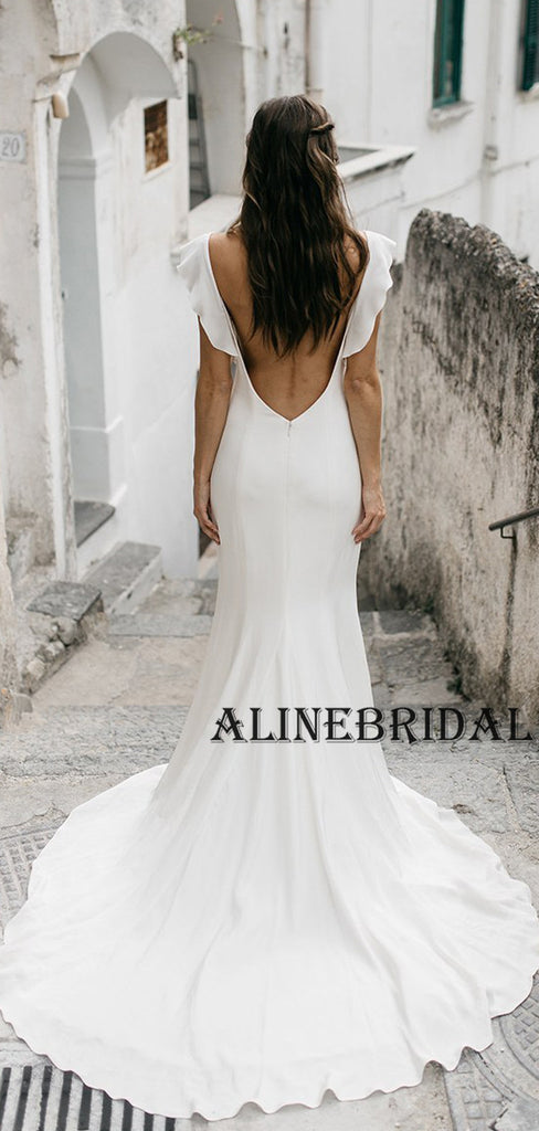 Mermaid Simple Country Ivory Beach Wedding Dresses WD1207