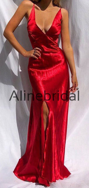 Mermaid Simple Red Cheap Spaghetti-Straps Prom Dresses PD1008