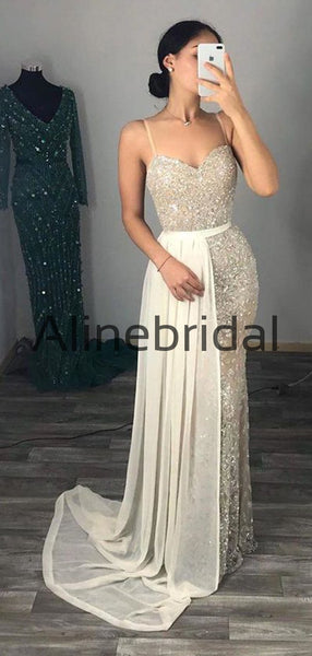 Mermaid Spaghetti Straps Sparkly Long Modest Sexy Prom Dresses PD1009