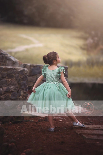 Mint Green  Appliques Tulle Pretty Sleeveless Short Flower Girl Dresses  , FGS075