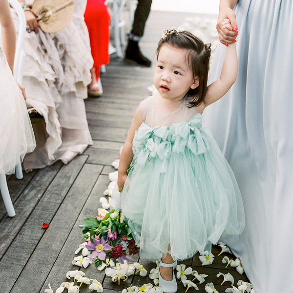 Mint Green Tulle Round Neck With Bow Appliques Cute Flower Girl Dresses, FGS105