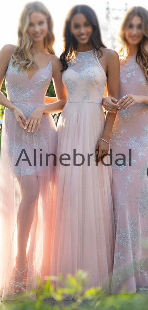 Mismatched Lace Chic Simple Modest Long Bridesmaid Dresses AB4214