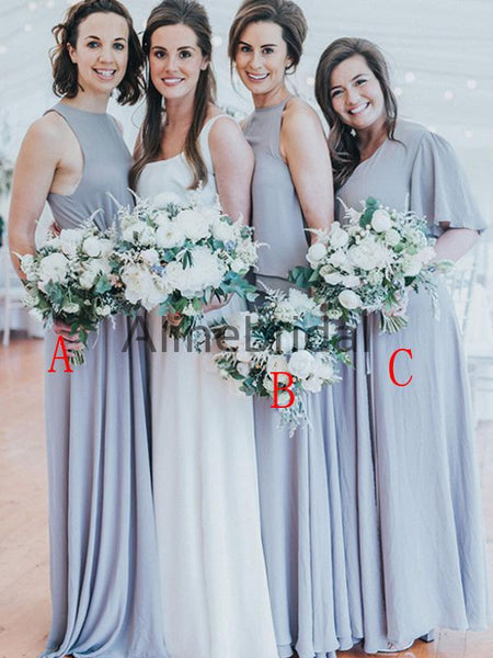 Mismatched  Simple Long Country Bridesmaid Dresses AB4208