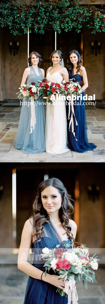 Mismatched Blue Tulle Sweetheart Long A-line Bridesmaid Dresses , AB1225