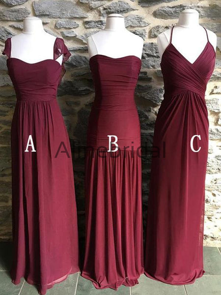 Mismatched Burgundy Chiffon Elegant Long Bridesmaid Dresses, AB4116