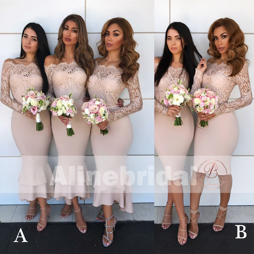 e0b00811a1d5 Mismatched Off Shoulder Lace Top Bridesmaid Dresses With Long Sleeves –  AlineBridal