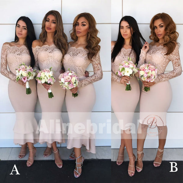 a0c394bc69cd Mismatched Off Shoulder Lace Top Bridesmaid Dresses With Long Sleeves –  AlineBridal