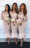 Mismatched Off Shoulder Lace Top Bridesmaid Dresses With Long Sleeves . AB1210