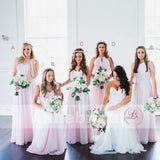 Mismatched Pink Chiffon Long A-line Simple Bridesmaid Dresses, AB1227