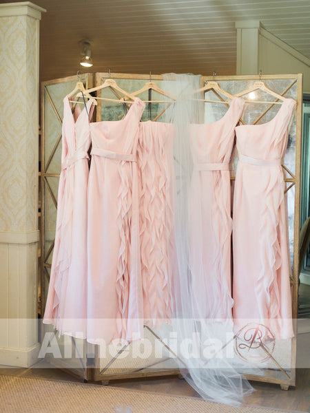 Mismatched Pink Chiffon With Unique Ruffles Split Bridesmaid Dresses , AB1223