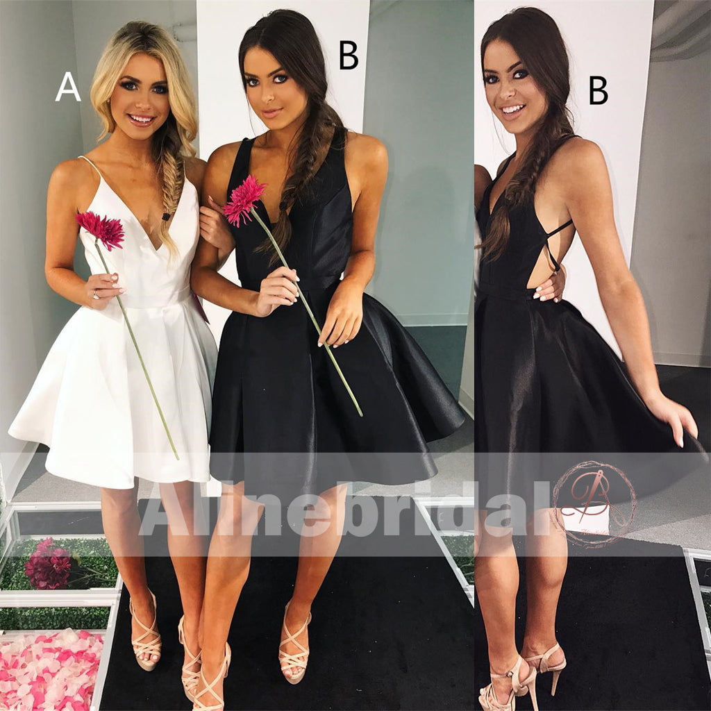 Mismatched Spaghetti Straps V-neck Black Simple Cheap Homecoming Dresses ,BD00236
