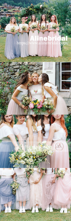 Mismatched Tulle Pastel Color Fashion Bridesmaid Dresses For Country Wedding , AB1217