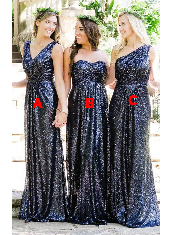 Navy Blue Sequin Sparkly Mermaid Bridesmaid Dresses AB4251