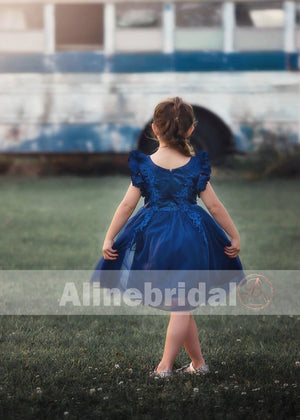 Navy Blue Appliques Tulle Pretty Sleeveless Short Flower Girl Dresses, FGS077
