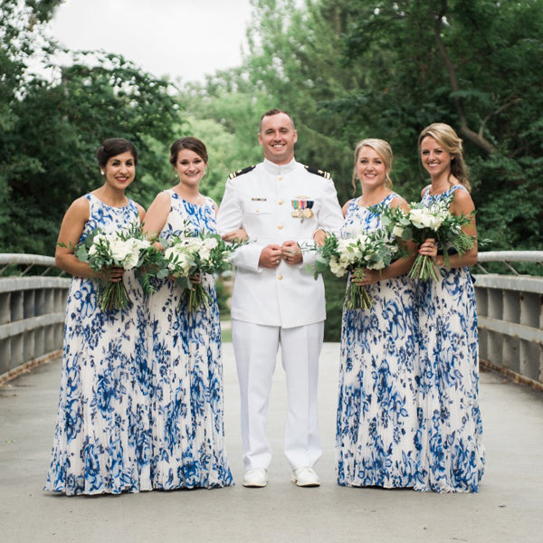 Navy Blue Floral Prints Round Neck Sleeveless Long Bridesmaid Dresses , AB1220