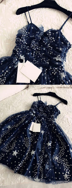 Navy Blue Shiny Star Painted Fashion Homecoming Dresses,HD0069