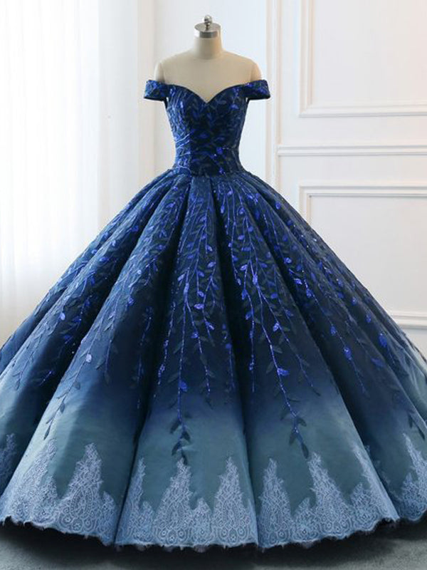 Navy Lace Applique Off Shoulder Ball Gown Princess Prom