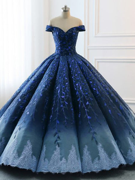5fbed4d27c5 Navy Lace Applique Off Shoulder Ball Gown Princess Prom Dresses ...
