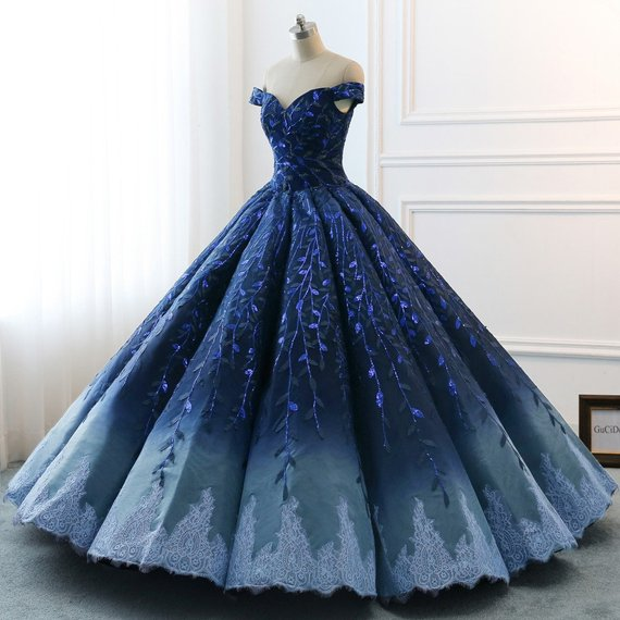 Navy Lace Applique Off Shoulder Ball Gown Princess Prom Dresses ,PD00137