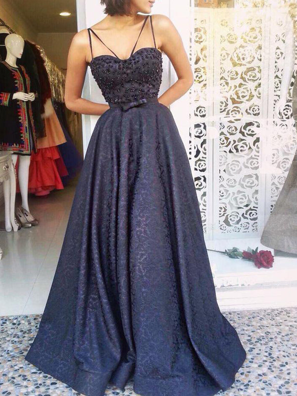 Navy Lace Beading Spaghetti Strap A-line Formal Prom Dresses,PD00189
