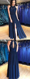 Navy Lace Chiffon Sleeveless Open Back Simple Prom Dresses,PD00371