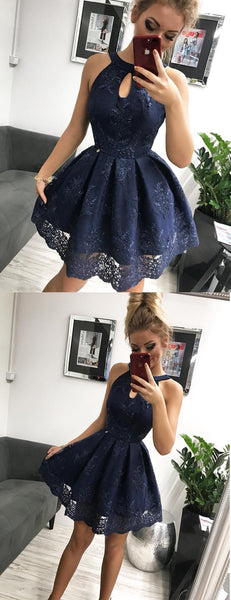 Navy Lace Halter Simple Party Dresses Homecoming Dresses,HD0032