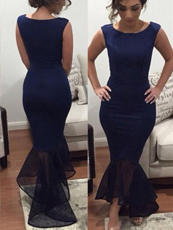 Navy Mermaid High Low Sleeveless Ankle Length Prom Dresses,PD0058