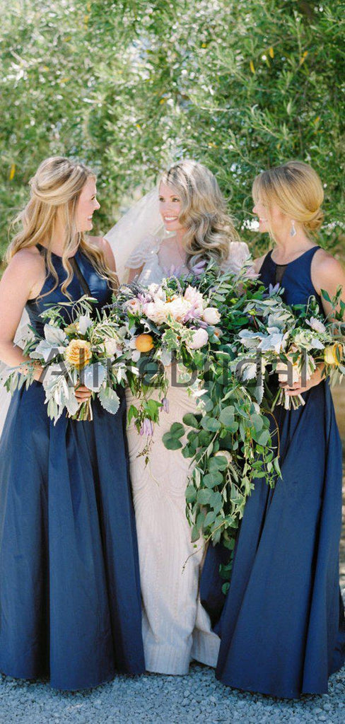 Navy Satin Round Neck Sleeveless A-line Bridesmaid Dresses, AB4129