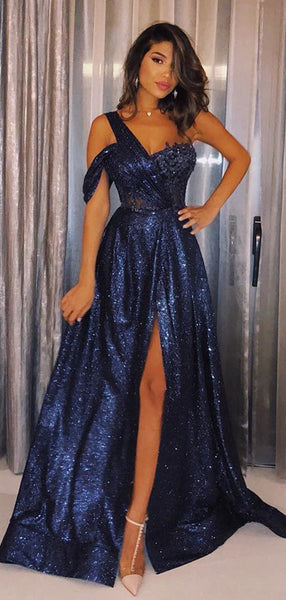 Navy Sequin One Shoulder A-line Shiny Long Prom Dresses,PD00341