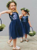 Navy Sequin Tulle Round Neck Short Flower Girl Dresses, FGS060