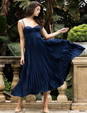 Navy Sweethart Spaghetti Strap A-line Ankle Length Prom Dresses ,PD00194