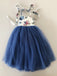 Navy Tulle Floral Prints Halter Country Flower Girl Dresses, FGS059