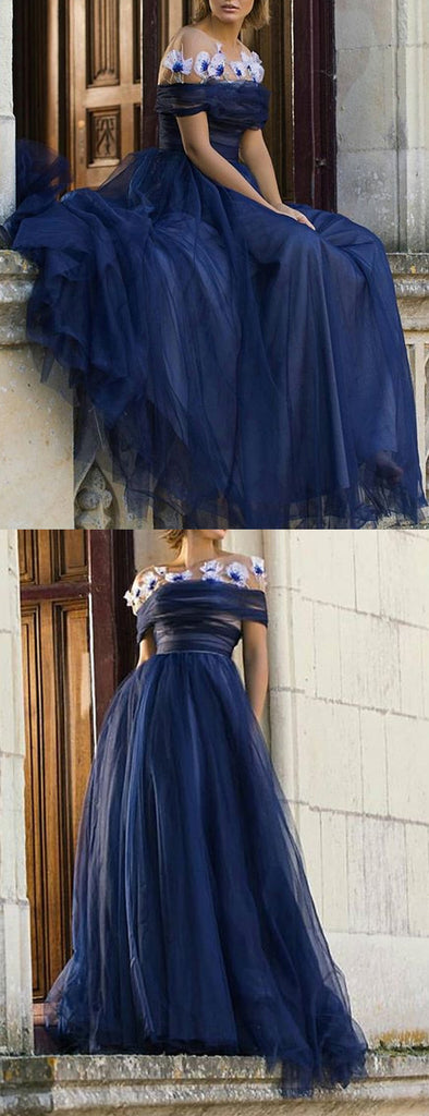 Navy Tulle Off Shoulder Fashion A-line Prom Dresses ,PD00193