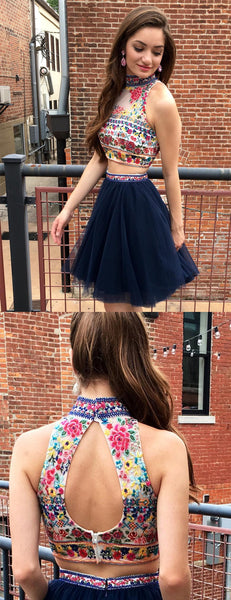 Navy Two Piece Embroidery High Neck Open Back Homecoming Dresses ,HD0019