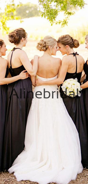 New Arrival A-line Black Side Slit Satin Long Formal Bridesmaid Dresses AB4221