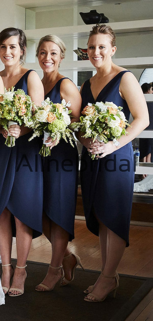 New Arrival Short Navy Blue Beach Summer Bridesmaid Dresses AB4230