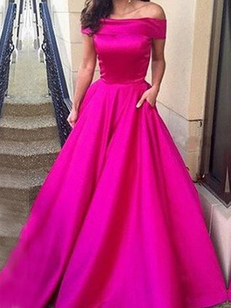 New Arrival Off Shoulder A-line Simple Ball Gown Formal Prom Dress,PD0188