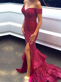 New Arrival Red Sequined Off Shoulder Mermaid Sexy Party Cocktail Evening Party Prom Dresses Online,PD0184
