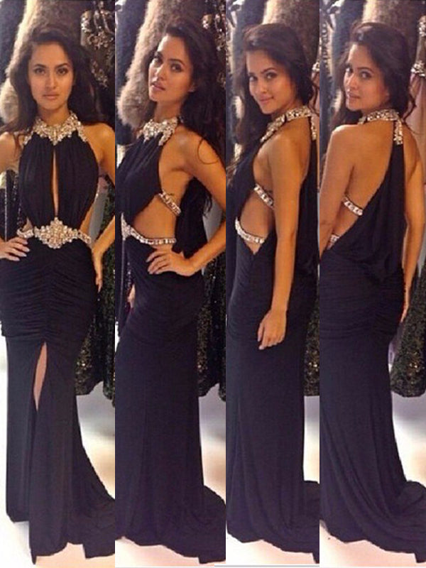 New Black Halter Rhinestones Sparkly Sexy Evening Prom Gown Dresses. PD0290