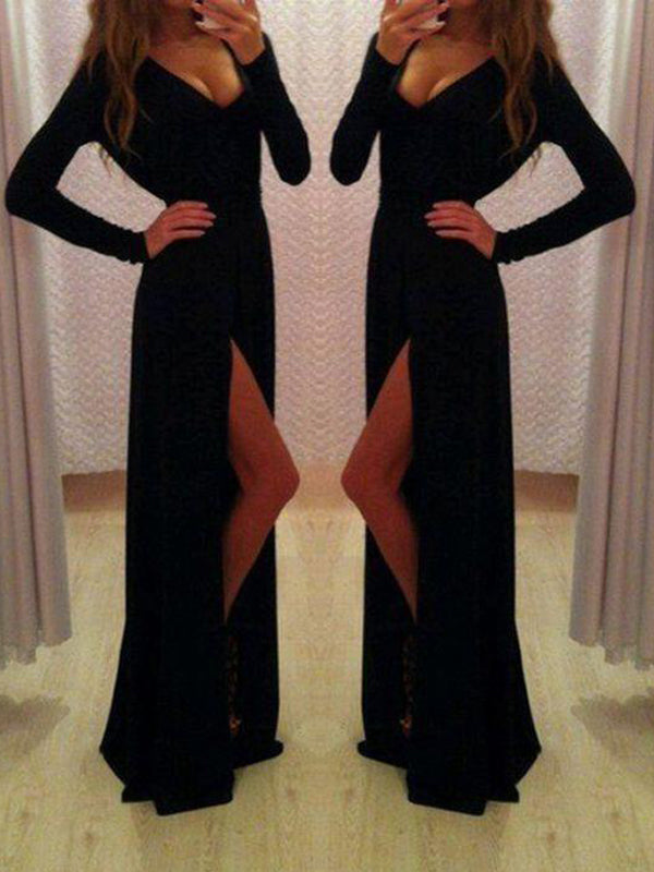 New Long Sleeve Black A-line Sexy Elegant Modest Evening Party Dress. PD0214