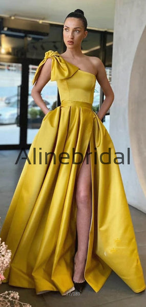 Newest A-line Yellow One Shoulder Satin Prom Dresses, Evening Dress PD1011